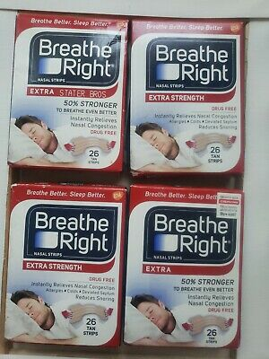 Breathe Right Extra Strength Nasal Strips - 26 Count Each  (4 PACK)
