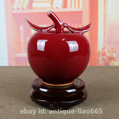"5.9"" Chinese Ceramics Jun Kiln Porcelain Red Glaze Fruit Shape Statue ornament"