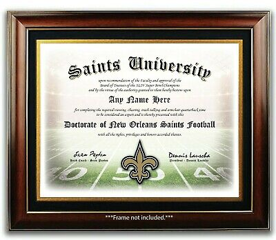 NEW ORLEANS SAINTS NFL Football Fan Certificate / Diploma Man Cave GIFT Xmas