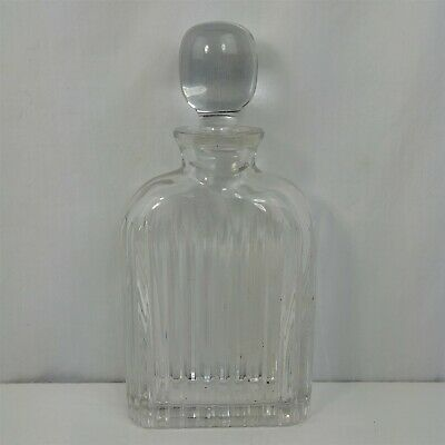 Clear Ribbed Glass Carafe Pitcher Jug w/ Original Stopper Vintage Heavy