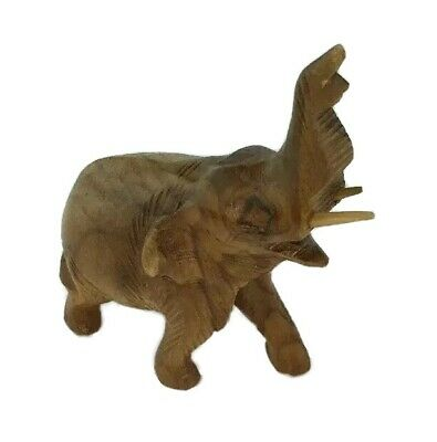 Small Elephant Statue Carved Wooden Figurine Wild Animal Africa Asia Good Luck