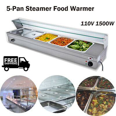 110V 1500W Bain-Marie Buffet  Countertop Food Warmer Steam Table   5-Pan Steamer