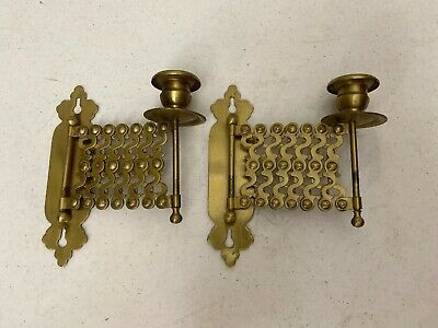 Vintage Brass Candle Holders Accordian Wall Mount Hanging Scissor Arm Sconce