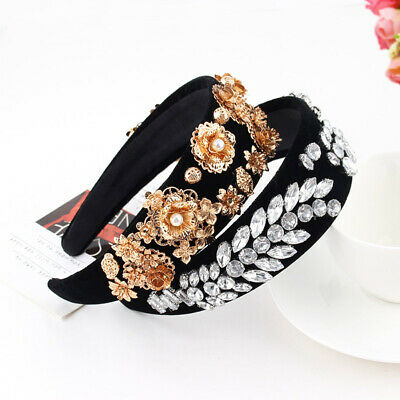 Baroque Women's Jewelled Headband Embellished Hairband Crystal Crown Party Show