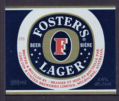 BEER LABELS:  FOSTERS LARGER   355ml...