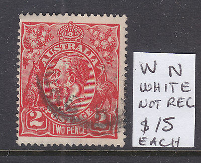 KGV 2d RED SINGLE WMK VARIETY ON  W  N BOTH VERY WHITE, NOT RECORDED. USED.