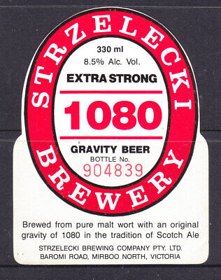 BEER LABELS:   STRZELECKI BREWERY  EXTRA STRONG 1080     330 ml..