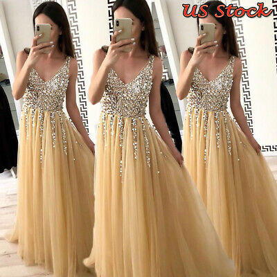 Women Formal Bridesmaid Wedding Long Dress Evening Cocktail Party Prom Ball Gown