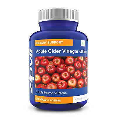 Apple Cider Vinegar Vegan Capsules - 600mg - Highest Quality, By Zipvit