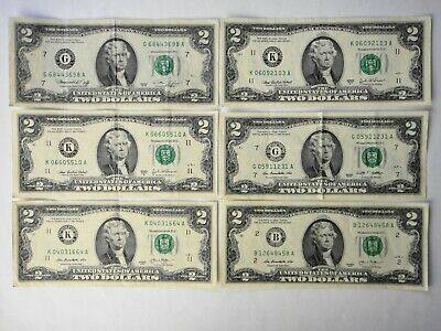 USA  6x $2 Two Dollar  Banknotes Various Years and Reserve Banks Circulated Cond