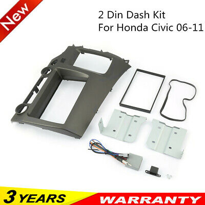 For Honda Civic 06-11 Taupe Radio Stereo Double 2 Din Dash Kit w/ Wiring Harness