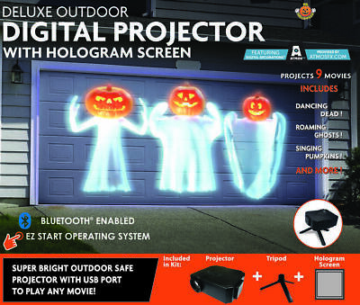 NEW Deluxe Outdoor Halloween Virtual Projector with Hologram Screen & Bluetooth