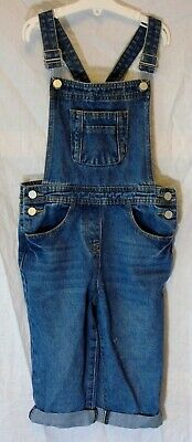 Girls George Mid Blue Whiskered Denim Cropped 3/4 Length Dungarees Age 8-9 Years