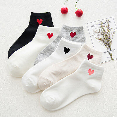 Cute Women Girls Heart Pattern Soft Breathable Ankle-High Casual Cotton Socks