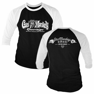 Official Licensed Gas Monkey Garage GMG Dallas Texas Baseball 3//4 Sleeve T-Shirt
