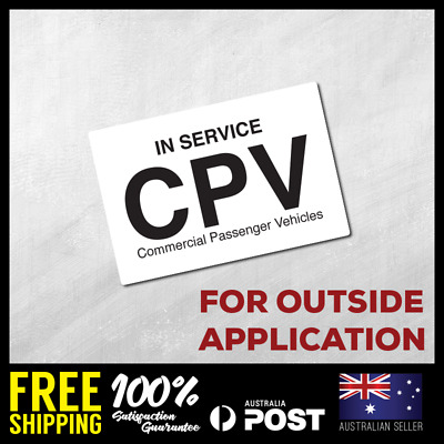 COMMERCIAL PASSENGER VEHICLE CPV Self Adhesive Sticker Decals Taxi Online
