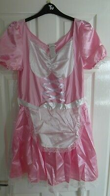 "Adult Baby Sissy Maids Dress Pink With White Lace And Extras Size L To 30"" Waist"