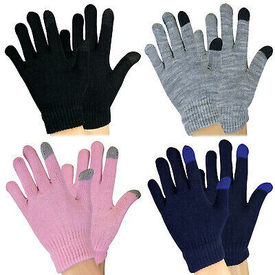 KIds Boys / Girls Knitted Thermal Winter Magic Touch Screen Gloves