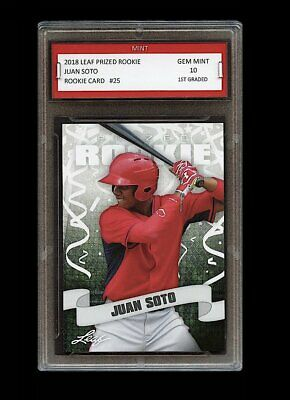 Juan Soto 2018 Leaf Prized Rookie 1St Graded 10 Rookie Card Washington Nationals