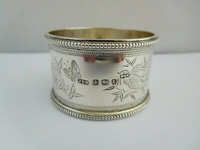 Stunning Antique English Sterling Silver Aesthetic Period Napkin Ring - 1890