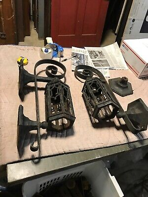 """Pair Antique Cast-Iron Exterior Wall Sconce As Found 24"""" X 11 D X6.75 Backplate"""