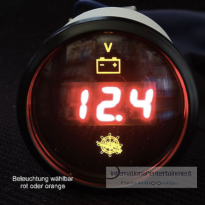 VOLTMETER  digital  INSTRUMENT GAUGE 12V - 24V AUTO  52mm  chromring