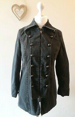 Gothic Victorian Emo Military Goth Jeans Jacket Coat size uk 10 Steampunk