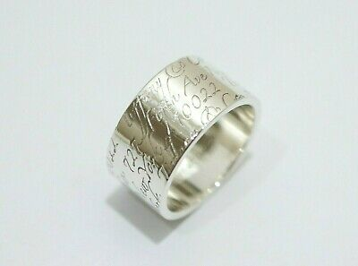 """Tiffany & Co. Sterling Silver Notes 727 Fifth Avenue Wide Band Ring Size 6.5"""""""