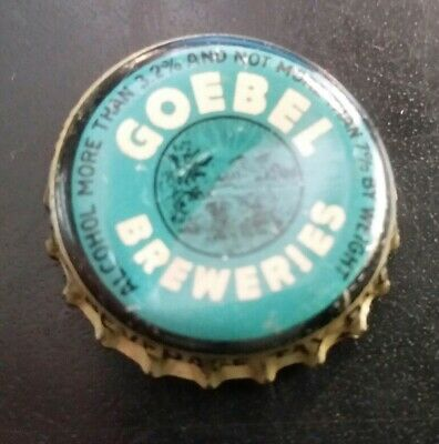 GOEBEL BEER - BREWING CORK BOTTLE CAP CROWN ohio malt beverage tax paid