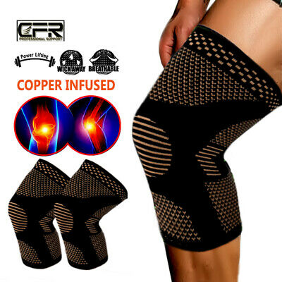 Copper Compression Knee Sleeve Support Brace Sport Joint Pain Injury Arthritis O