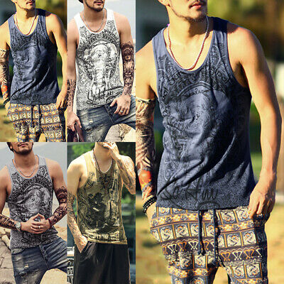 Mens Loose Muscle Fit Tank Top T-Shirt Casual Sleeveless Gym Singlet Blouse Tee