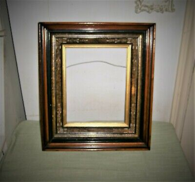 Antique Eastlake Picture Frame Victorian Stacked Shadowbox Walnut Wood Etched