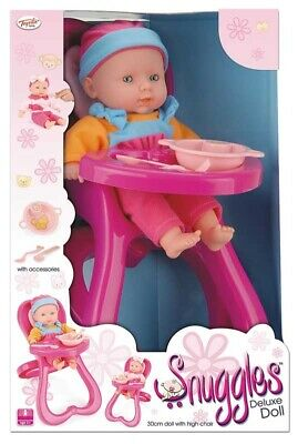 30cm Snuggles Dolls Highchair Toy And Doll With Feeding Accessories Baby Boy NEW