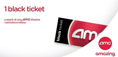 AMC Theater One Black Movie Ticket - AMC Theatres  No Expiration *E-Delivery