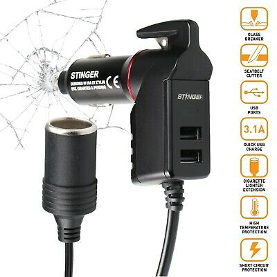 STINGER USB Emergency Escape Tool Extension lighter Car charger window breaker