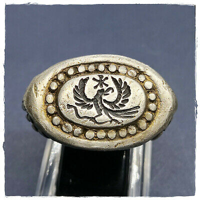 **AQUILA - EAGLE**ancient LEGIONARY GOLD PLATED SILVER Roman ring!MASSIVE 22,77g