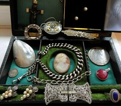 Job Lot Antique Victorian Edwardian Deco Jewellery Silver 9Ct Gold Cameo Job Lot