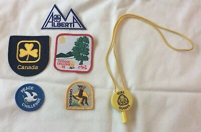 Canadian Girl Guides Woven Badges X 5 & Neck Piece,Outdoor Challenge '85 Badge