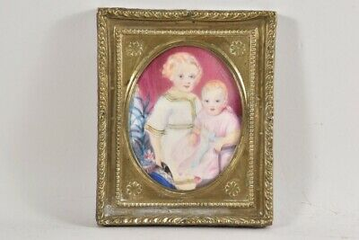 i66x29- Portrait Miniatur 2 Kinder um 1840 Messing Rahmen