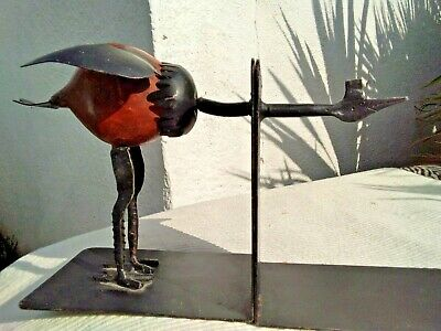 VINTAGE PAIR of METAL BOOKENDS - FUNNY BIRD