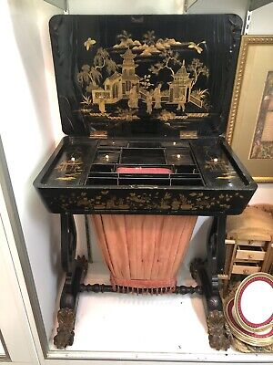 Circa 1830 Chinese Export Lacquered Fitted Sewing Cabinet Chinoiserie Asian