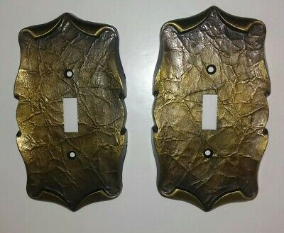 2 Vintage Amerock Carriage House Single Toggle/Switch Plate Covers Antique Gold