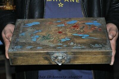"""12"""" Old Chinese Dynasty Pure Bronze Double dragon Play bead Pattern storage box"""