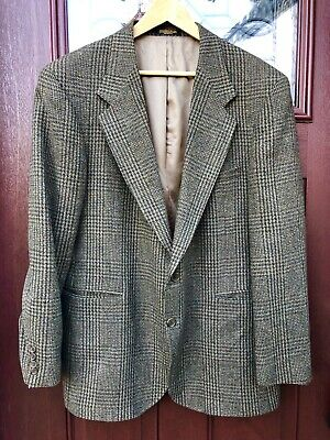 Macy's Evan Picone Mens Wool Sport Coat Gray Olive Glen Plaid S 42 Made in USA