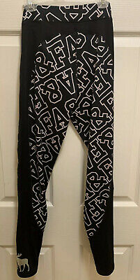 New Abercrombie Kids Black with White A&F Print Leggings Girls Size 13/14 w/ Tag