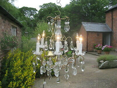 Stunning  6 Branch Antique French Chandelier Brass & Crystal Drops Superb  /