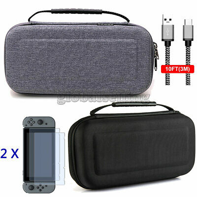 Nintendo Switch Case and Tempered Glass Screen Protector &2 Meter Charging Cable