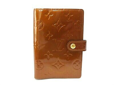 Authentic Louis Vuitton Monogram Vernis Agenda PM Notebook Cover Bronze R21004