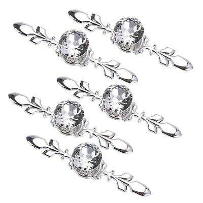 5 Pack Crystal Drawer Knobs with Silver Plate - Diamond Shape Cabinet Drawe M7R4