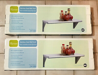 """real organized Stainless Steel Wall Shelf, 24"""", NSF Certified, 2 Shelves *NEW*"""